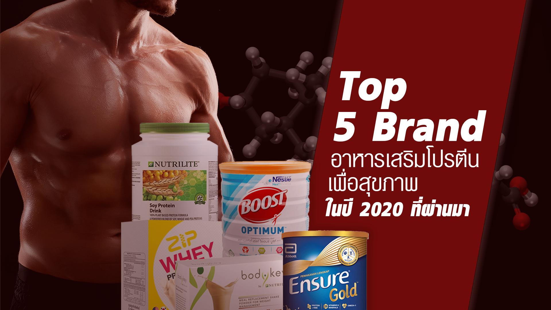 Top 5 Brand อาหารเสริมโปรตีนเพื่อสุขภาพในปี 2020 ที่ผ่านมา